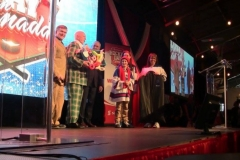 Don Cherry & Ron MacLean presenting them a balloon tribute on stage!)