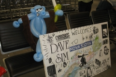 Dave Sim (Tribute Cerebus balloon and sign)