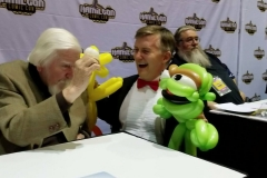 Sesame Street's Caroll Spinney (Starts talking in the voices of Big Bird, and Oscar!)